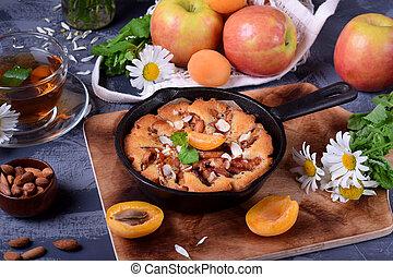 mandorla, albicocca, torta, norvegese, mela