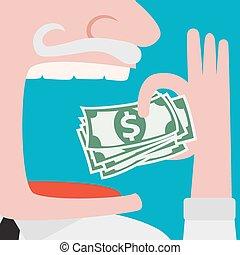 mangiare, dollari, contanti, avido, verde, uomo affari
