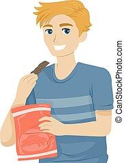 mangiare, illustrazione, scatti, cibo, ragazzo, adolescente