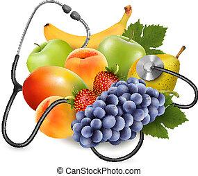 mangiare, sano, concept., frutta, vector., stethoscope.