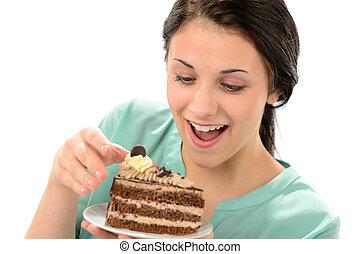 mangiare, saporito, torta, ragazza, pezzo, gioioso