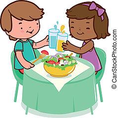 mangiare, seduta, sano, o, cibo., vettore, illustrazione, tavola, bambini