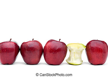mangiato, individuale, mele verdi, delizioso, mela rossa