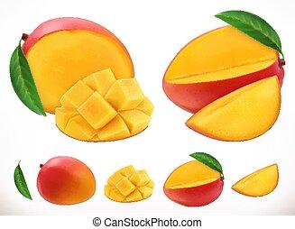 mango., frutta, realistico, vettore, fresco, 3d, icona