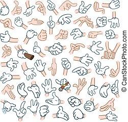 mani, 2, cartone animato, pacco