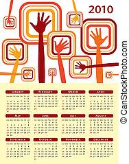 mani, 2010., calendario, disegno