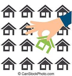 mani affari, illustrazione, house., home., acquisto, concetto