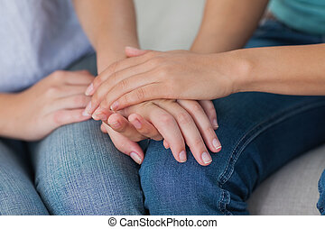 mani, amici, toccante, chiudere