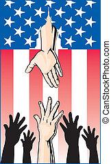 mani arrivando, aiuto, governo