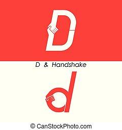 mani, astratto, -, logotipo, icona, lettera, disegno, &, d