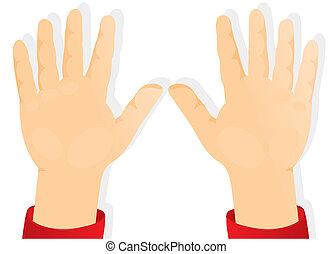 mani, bambini, avanti, palme