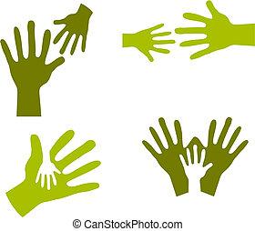 mani, bambino, adulto