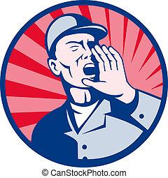 mani, bocca, gridare, lavoratore