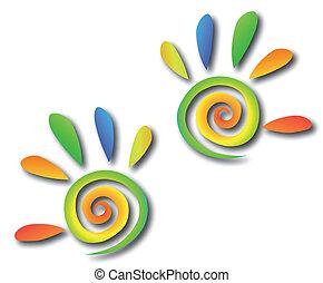 mani, colorato, spirale, vettore, fingers.