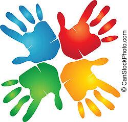mani, colorito, lavoro squadra, logotipo, intorno