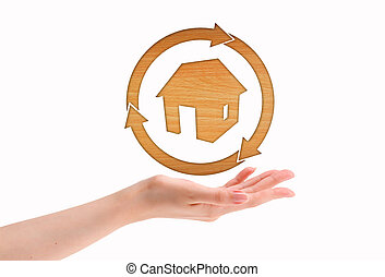 mani, cuore, casa, fare, legno, forma