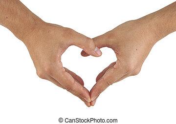 mani, cuore, fare, due, forma