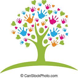 mani, cuori, albero, figure
