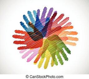 mani, diversità, scarabocchio