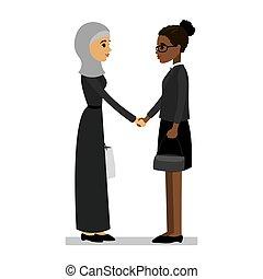 mani, donne, americano arabo, africano, scuotere