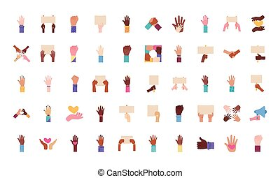 mani, fascio, protesta, set, icone, cinquanta