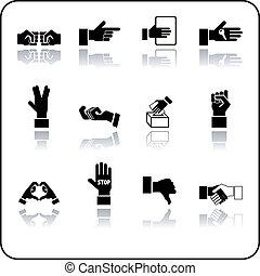mani, icona, set