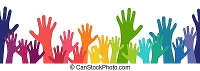 mani in alto, estensione, loro, molti, persone