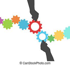 mani, ingranaggio, persone, processo, amministrazione, tecnologia