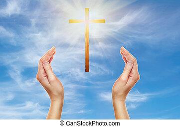 mani, legno, pregare, croce