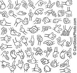 mani, lineart, 2, cartone animato, pacco