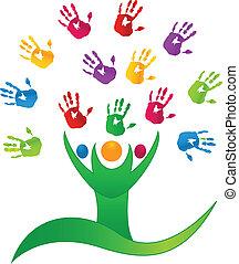 mani, persone, albero, logotipo, vettore