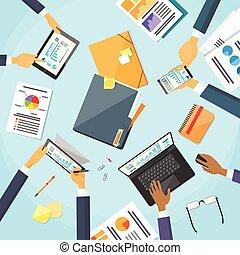 mani, persone, lavorativo, squadra affari, posto lavoro, scrivania