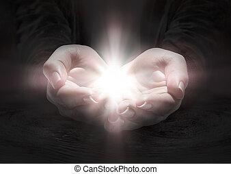 mani, pregare, -, luce, crocifisso