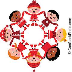 mani, presa a terra, felice, inverno, isolato, multicultural, bambini, bianco