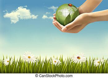 mani, presa a terra, fondo, vettore, globe., illustration., natura