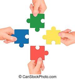 mani, presa a terra, pezzi, jigsaw, concept:, cooperazione