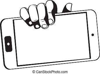 mani, presa a terra, tavoletta, tocco, -, computer, black-white, aggeggio