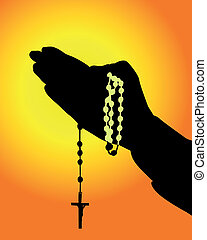 mani, rosario, silhouette