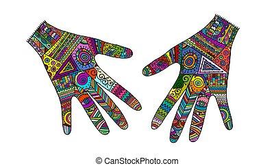 mani, schizzo, disegno, ornare, tuo, style., boho