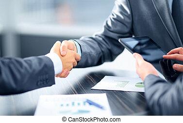 mani scotendo, ufficio, persone affari