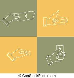 mani, soldi, affari, lineare, set, icons., vettore, mano