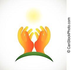 mani, speranzoso, sole, logotipo, cura