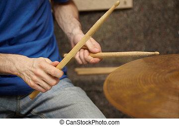 mani, tamburino, appiccicare, boom