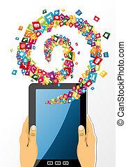 mani, tavoletta, app, prese, icons., pc, umano