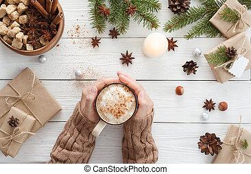 mani, tazza, caffè