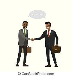 mani, uomo affari, americano, africano, due, scuotere