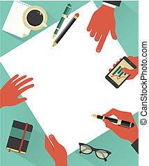 mani, vettore, riunione, fondo, affari