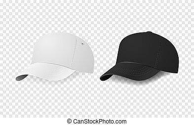 manichino, baseball, sagoma, pubblicizzare, marcare caldo, set., berretto, isolato, fondo., closeup, vector., disegno, bianco, icona, trasparente, nero