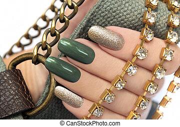 manicure., verde
