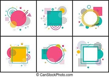 manifesti, astratto, vettore, collezione, illustrazione